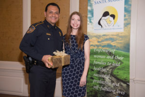 Harris County Sheriff Ed Gonzalez and Santa Maria Hostel CEO Nadine Scamp.